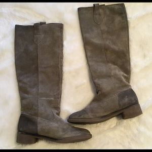 BDG Taupe leather distressed knee-high boots